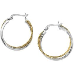 Pure 100 Two Tone Twist Hoop Earrings