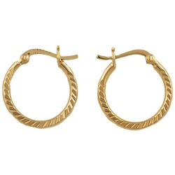 Pure 100 Gold Plate Deep Diamond Cut Hoop Earrings