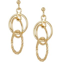 Pure 100 Multi-Ring Drop Post Top Earrings
