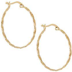 Pure 100 Gold Tone Twist Thin Hoop Earrings