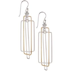 Pure 100 Two Tone Three Ring Open Drop Earrings