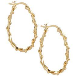 Pure 100 Gold Tone Twist Oval Hoop Earrings