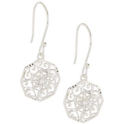 Pure 100 Round Filigree Dangle Earrings