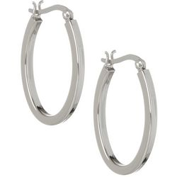 Pure 100 Silver Tone Oval Hoop Earrings