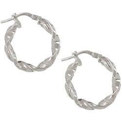 Pure 100 19mm Silver Tone Twist Hoop Earrings