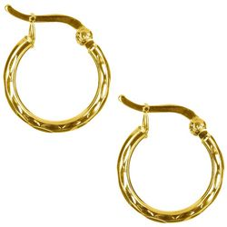 Pure 100 Gold Tone Textured Hoop Earrings