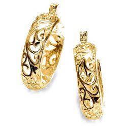 Pure 100 Gold Plated Filigree Hoop Earrings