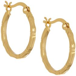 Pure 100 Gold Tone Bamboo Textured Hoop Earrings