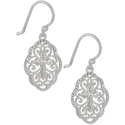 Pure 100 Silver Tone Cross Filigree Drop Earrings