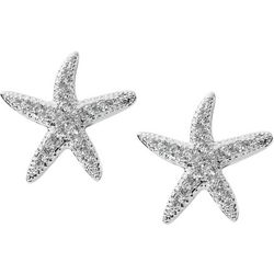 Pure 100 Pave Rhinestone Starfish Stud Earrings