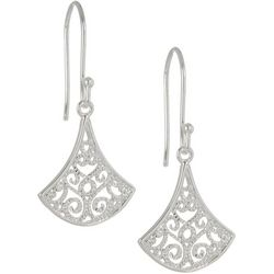 Pure 100 Silver Filigree Fan Drop Earrings