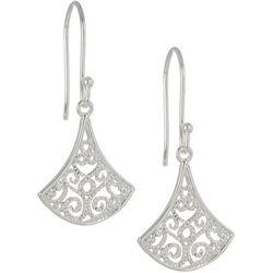 Pure 100 Silver Filigree Fan Drop Earrings