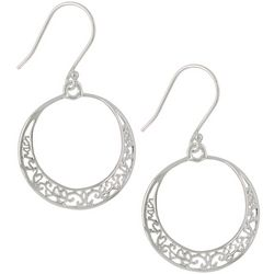 Pure 100 Silver Tone Filigree Ring Fishhook Earrings