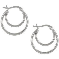 Pure 100 Silver Tone Double Hoop Earrings