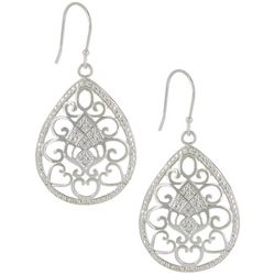Pure 100 Silver Tone Heart Filigree Teardrop Earrings