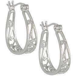 Pure 100 Silver Tone Filigree Hoop Earrings