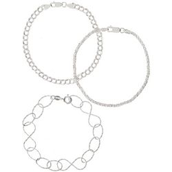 Pure 100 3-pc. Multi Chain Bracelet Set