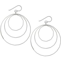 Pure 100 Silver Tone Three Ring Hoop Earrings