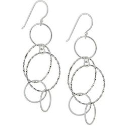 Pure 100 Silver Tone Multi Ring Linear Earrings