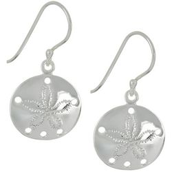 Pure 100 Silver Tone Sand Dollar Dangle Earrings