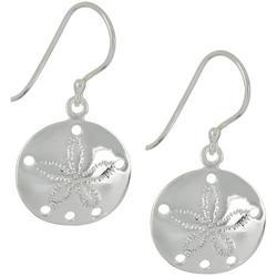 Silver Tone Sand Dollar Dangle Earrings