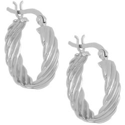 Pure 100 Silver Tone Wave Texture Small Hoop Earrings