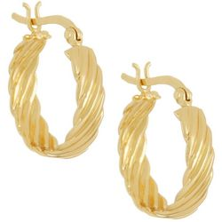 Pure 100 Gold Tone Wave Texture Small Hoop Earrings