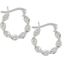 Pure 100 Silver Tone Twisty Small Click It Hoop Earrings