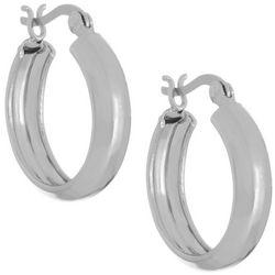 Pure 100 20mm Silver Tone Classic Hoop Earrings