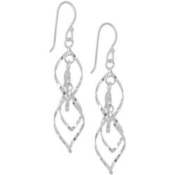 Pure 100 Silver Tone Multi Link Twist Drop Earrings