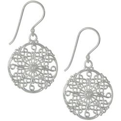 Pure 100 Silver Tone Filigree Disc Dangle Earrings