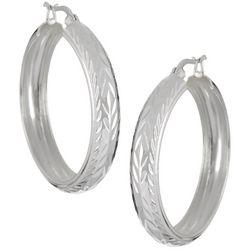 Pure 100 Silver Tone Diamond Cut Wide Hoop Earrings