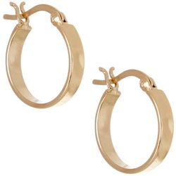 Pure 100 Gold Tone Wide Hoop Earrings