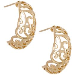 Pure 100 Gold Plated Filigree Hoop Earrings