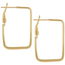 Pure 100 Gold Plated Rectangle Hoop Earrings