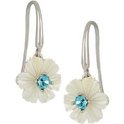 Morgan Rose MOP Flower Aqua Center Stone Earrings