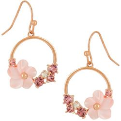 Morgan Rose MOP Pink Flower Circle Drop Earrings