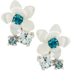 Morgan Rose MOP Flower Blue Stone Stud Earrings