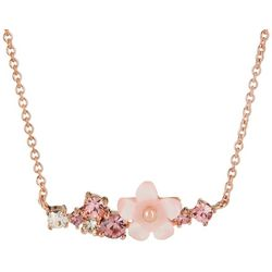 Morgan Rose MOP Flower Pink Bar Pendant Necklace
