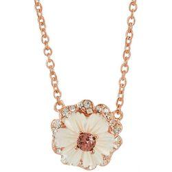 Morgan Rose MOP Flower Vintage Rose Pendant Necklace