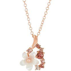 Morgan Rose MOP Flower & Rose Gold Tone Pendant Necklace