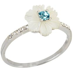 Morgan Rose MOP Flower Aqua Blue & Clear Stones Ring