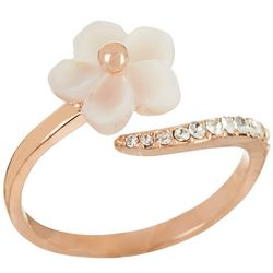 Morgan Rose MOP Flower Clear Crystal Elements Wave Ring