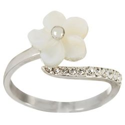 Morgan Rose MOP Flower Silver Tone Wave Ring