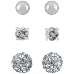 Signature 3 Pair Cubic Zirconia Pave Ball Stud Earrings