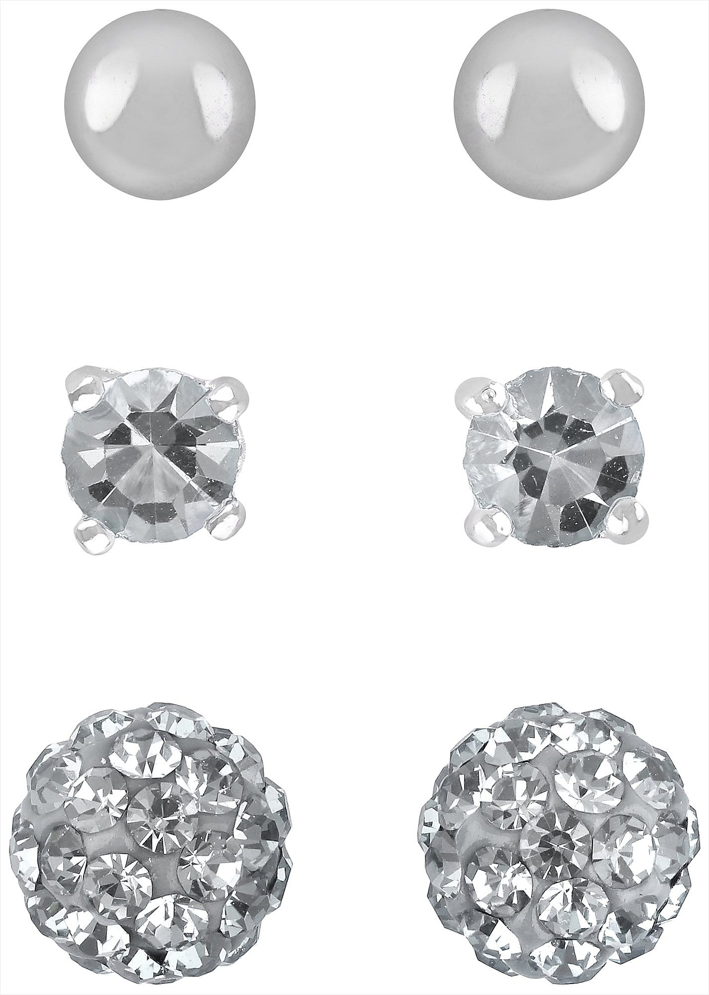 aa2c5a01c Details about Signature 3 Pair Cubic Zirconia Pave Ball Stud Earrings  Silver tone