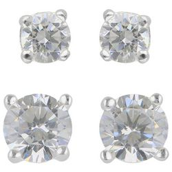 Signature Cubic Zirconia 6mm & 8mm Stud Earring Set