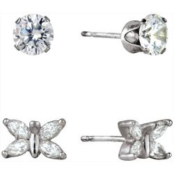 Signature Round Cubic Zirconia & Butterfly Earring Set