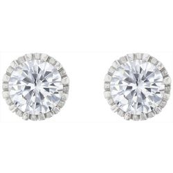 Signature 9mm Round Cubic Zirconia Stud Earrings