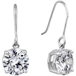 Signature 8mm Round Cubic Zirconia Drop Fishhook Earrings